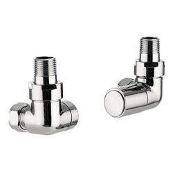 Hudson Reed Chrome Radiator Valves Corner Pair Flat Front | HT321